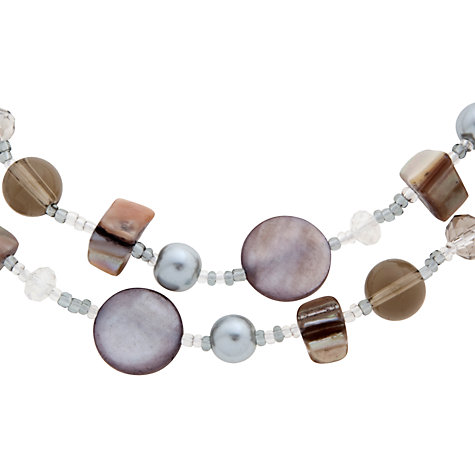 Buy John Lewis Double Strand Shell and Pearl Glass Bead Necklace, Grey Online at johnlewis.com