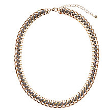 Buy John Lewis Interwoven Cord Box Chain Necklace, Grey / Gold Online at johnlewis.com