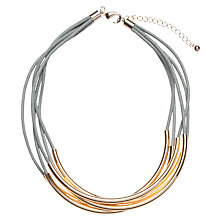 Buy John Lewis Multi Cord Tube Detail Necklace, Grey / Gold Online at johnlewis.com