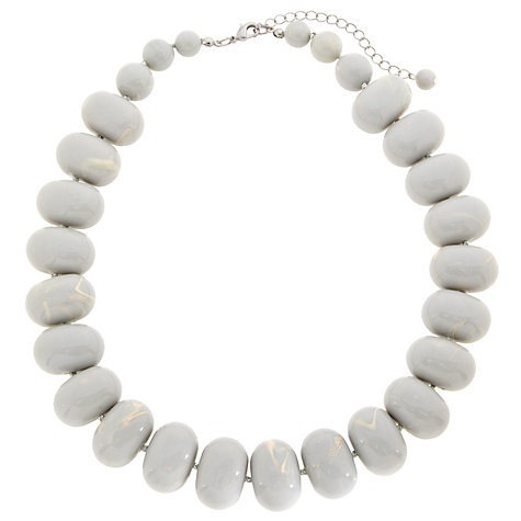Buy John Lewis Oval Marbled Bead Necklace, Grey Online at johnlewis.com