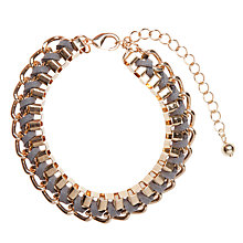 Buy John Lewis Interwoven Cord Box Chain Bracelet, Grey / Gold Online at johnlewis.com