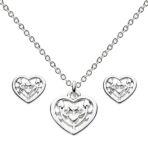 Buy Julie Dodsworth Folk Heart Necklace And Stud Earrings Jewellery Set, Silver Online at johnlewis.com