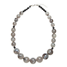 Buy John Lewis Diego Round Resin Bead Graduated Necklace, Grey Online at johnlewis.com