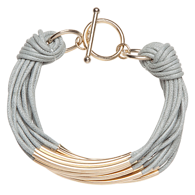 John Lewis Multi Strand Tube Layered Bracelet, Grey/Gold