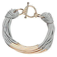 Buy John Lewis Multi Cord Tube Detail Bracelet, Grey / Gold Online at johnlewis.com