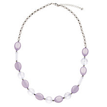 Buy John Lewis Acrylic Bead Long Necklace, Grey Online at johnlewis.com