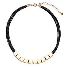 Buy John Lewis Multi-Cord Metal Cube Necklace, Black Online at johnlewis.com