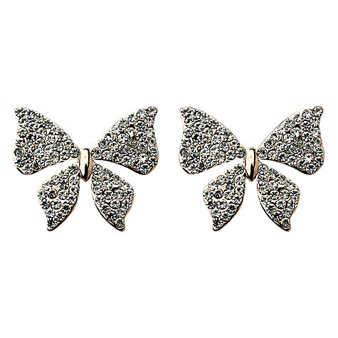 Buy Adele Marie Bow Diamante Stud Earrings, Rose Gold Tone Online at johnlewis.com