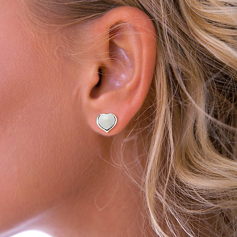 Buy Nina B Silver Heart Stud Earrings, Silver Online at johnlewis.com