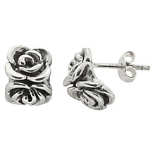 Buy Nina B Sterling Silver Double Rose Stud Earrings, Silver Online at johnlewis.com