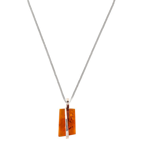 Buy Be-Jewelled Sterling Silver Cognac Amber Square Pendant Necklace, Orange Online at johnlewis.com