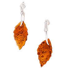 Buy Be-Jewelled Sterling Silver Cognac Amber Leaf Drop Earrings, Orange Online at johnlewis.com