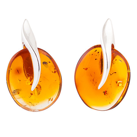 Buy Be-Jewelled Sterling Silver Cognac Amber Abstract Drop Earrings Online at johnlewis.com
