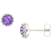 Buy London Road Amethyst And 9ct White Gold Stud Earrings, Purple Online at johnlewis.com