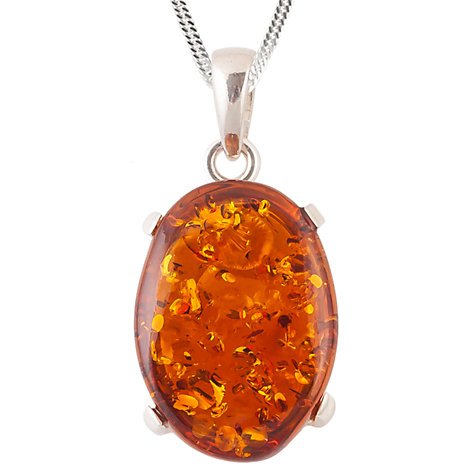 Buy Be-Jewelled Sterling Silver Cognac Amber Claw Set Pendant Necklace, Orange Online at johnlewis.com