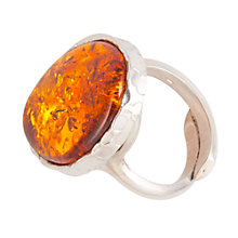 Buy Be-Jewelled Sterling Silver Cognac Amber Adjustrable Ring, Orange Online at johnlewis.com
