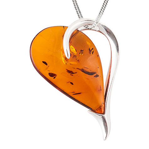 Buy Be-Jewelled Sterling Silver Cognac Amber Heart Pendant Necklace, Orange Online at johnlewis.com
