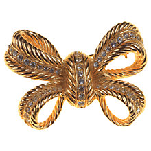 Buy Alice Joseph Vintage 1980s Christian Dior Gilt Plated Diamante Bow Brooch, Gold Online at johnlewis.com