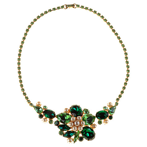 Buy Alice Joseph Vintage 1950s Diamante Pearl Statement Necklace, Green Online at johnlewis.com