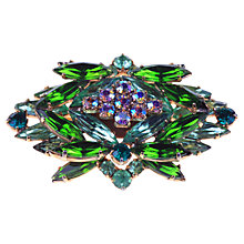 Buy Alice Joseph Vintage 1950s Green And Aurora Borealis Diamante Brooch, Green Online at johnlewis.com