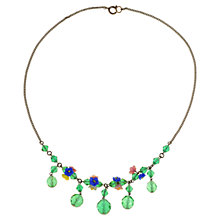 Buy Alice Joseph Vintage 1930s Glass Flowers Crystal Bead Necklace, Green Online at johnlewis.com