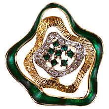 Buy Alice Joseph Vintage Attwood & Sawyer Diamante Polished Gilt Plated Brooch, Green Online at johnlewis.com
