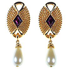 Buy Alice Joseph Vintage 1980s Swarovski Pearl Drop Earrings, Purple Online at johnlewis.com