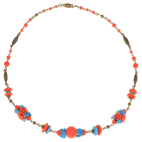 Buy Alice Joseph Vintage 1930s Beaded Flower Necklace, Coral Online at johnlewis.com