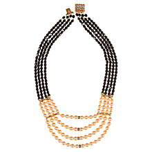 Buy Alice Joseph Vintage 1980s Gilt Plated Four Row Beaded Necklace, Black Online at johnlewis.com