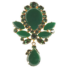 Buy Alice Joseph Vintage 1950s Gilt Plated Diamante Brooch, Green Online at johnlewis.com