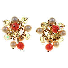 Buy Alice Joseph Vintage 1980s Trifari Bead Cluster Clip-On Earrings, Coral Online at johnlewis.com