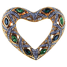 Buy Alice Joseph Vintage 1980s Swarovski Open Heart Diamante Brooch, Blue / Green Online at johnlewis.com