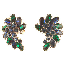 Buy Alice Joseph Vintage Trifari Diamante Fan Clip-On Earrings, Green / Blue Online at johnlewis.com