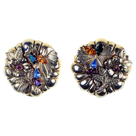 Buy Alice Joseph Vintage 1960s French Floral Diamante Detail Clip-On Earrings Online at johnlewis.com