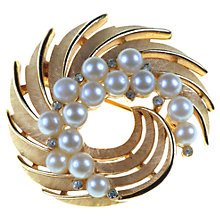Buy Alice Joseph Vintage Trifari Faux Pearl Gilt Spiral Brooch, Gold Online at johnlewis.com