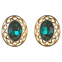 Buy Alice Joseph Vintage Swarovski Oval Diamante Clip-On Earrings, Green Online at johnlewis.com