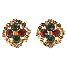 Buy Alice Joseph Vintage Swarovski Round Diamante Clip-On Earrings, Green / Red Online at johnlewis.com
