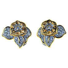 Buy Alice Joseph Vintage Swarovski Flower Diamante Clip-On Earrings, Gold Online at johnlewis.com