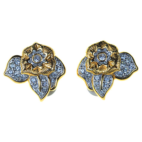 Buy Alice Joseph Vintage Swarovski Flower Diamante Clip-On Earrings, Gold / Blue Online at johnlewis.com