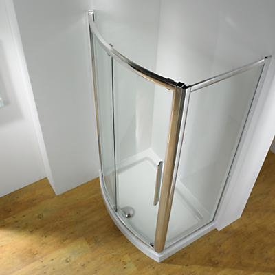 John Lewis Surround 150 x 70cm Recess Shower Enclosure with Bowed Front Sliding Door