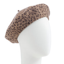 Buy John Lewis Animal Print Wool Beret, Brown Online at johnlewis.com
