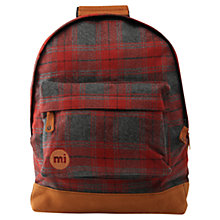 Buy Mi-Pac Plaid Backpack, Grey/Red Online at johnlewis.com