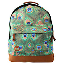 Buy Mi-Pac Peacock Print Backpack, Green/Multi Online at johnlewis.com
