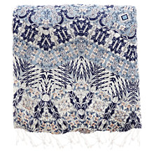 Buy Warehouse Johanna Print Scarf, Bright Blue Online at johnlewis.com