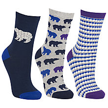 Buy John Lewis Polar Bear Ankle Socks, One Size, Pack Of 3, Navy Online at johnlewis.com