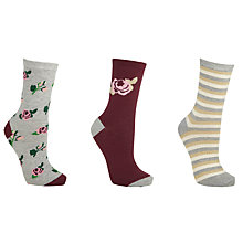 Buy John Lewis Christmas Flower Socks, Pack of 3, Red Online at johnlewis.com
