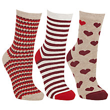 Buy John Lewis Big Hearts Ankle Socks, Pack Of 3, Red Online at johnlewis.com
