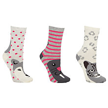 Buy John Lewis Snow Animal Ankle Socks, Pack of 3, Grey Online at johnlewis.com