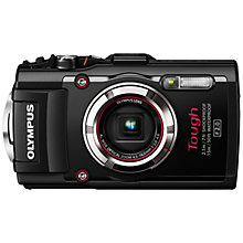 "Buy Olympus TG-3 Waterproof Camera, HD 1080p, 16MP, 4x Optical Zoom, Wi-Fi, GPS, 3"" LCD Screen, Black with Memory Card Online at johnlewis.com"