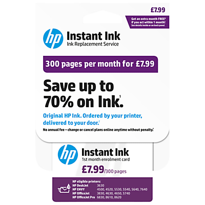 HP Instant Ink Enrolment Card 300 Pages